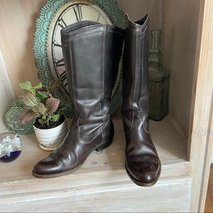 Frye Tall Dark Chocolate Brown Leather Boots 6